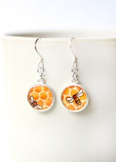 Honey Bee - Dangle Earrings, Wearable Art | $ 34.00 www.SarahLambertCook.com
