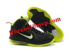 Nike Zoom LeBron 9(IX) Shoes Black/Green Lebron 9, Nike Zoom, Black Shoes, Sneakers Nike, Green, Black Loafers, Nike Tennis