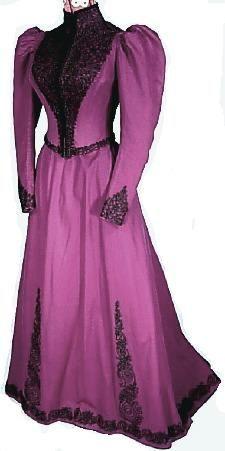 c. 1890's The John Shillito Co., Cincinatti Royal Purple Wool Walking Gown Covered in Elaborate Black Soutache  Antique Dress - Item for Sale