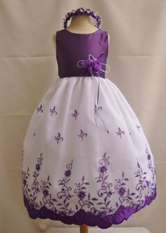 Flower Girl Dress - PURPLE Organza Embroidered Dress - Bridesmaid, Communion, Easter, Wedding - Toddler, Teen (OE)