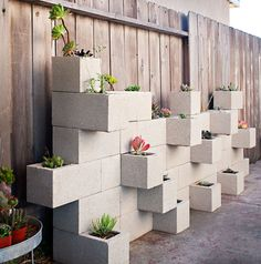 We could make our home more beautiful with cinder block planter ideas on your terrace, front yard or backyard. Take a look our cinder block collections .Read More. Vertical Garden Planters, Succulents Garden, Wall Planters, Backyard Planters, Rustic Backyard, Vertical Gardens, Planters Shade, Cement Planters, Succulent Gardening