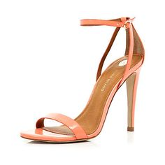 Coral barely there stiletto sandals - heels - shoes / boots - women