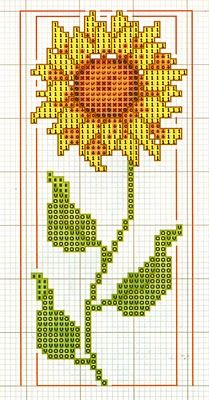Cross-stitch Sunflower ... no color chart available, just use the pattern chart as your color guide.. or choose your own colors... Patrones Punto +