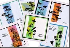handmade cards from LIGHTHOUSE CARDS ... panel of masked off color ... stamped with black silhouettes of flowers going over the edges ... great misked font sentiments ... quick and easy but very artistic ... lovely cards!