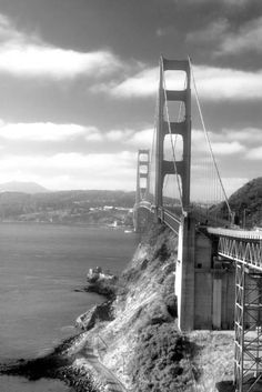 """""""Golden Gate Bridge (Black and White)"""" by Vintage Works // Imagekind.com – Buy stunning, museum-quality fine art prints, framed prints, and canvas prints directly from independent working artists and photographers."""