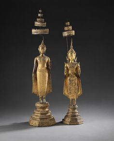 A large gilt-copper alloy standing Buddha, and a classical dancer Thai, late century Standing Buddha Statue, Buddha Statues, Art Thai, Th 5, Laos, Stone Carving, Traditional Art, Asian Art, Sculptures