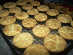"""Easy Snickerdoodles Cookies ~ 18 1/4 oz White Cake Mix, 1/2 c Butter melted, 1 Egg, 2 T Sugar, 1 tsp Cinnamon. Oven 350 (325 dark or non-stick). Mix cake mix, butter & egg till dough forms. Shape into 1"""" balls (rounded teaspoonful), roll balls in cinnamon/sugar mix. Place 2"""" apart on ungreased sheet. Bake 10-12 minutes or till set. Remove & cool on wire rack."""