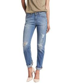 The quintessential boyfriend jean with a figure-flattering slim fit. This supremely versatile pair looks effortlessly polished with a flirty peplum top and heels. On weekends, try them with ballet flats and a striped tee.