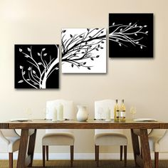 ThreecolorTrees Elegant Floral Oblique 3 Panels Picture Modern