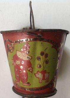 """Antique Leo Schlesinger child's tin-litho toy mini sand pail """"Clowns"""" #LeoSchlesinger"""