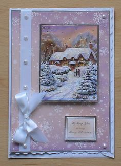 #hunkydory #createandcraft  Wasn't sure about the colours in this card, it has come together very well. The card is made using the Hunkydory 4 day deal christmas kit, i decorated with satin ribbon and pearls from my crafty stash.