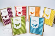 Stampin Up Cards Stamp A stack DSP Polka Dot Parade Just for you Luftpost up up and away Eleganter Schmetterling Stanze Punch Elegant Butterfly