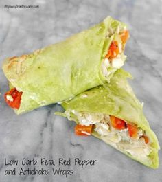 Low Carb Feta Red Pepper and Artichoke Wraps - served warm! Best Low Carb Recipes, Low Carb Vegetarian Recipes, Vegetarian Entrees, Low Carb Dinner Recipes, Clean Eating Recipes, Keto Recipes, Healthy Eating, Healthy Foods, Low Carb Bread