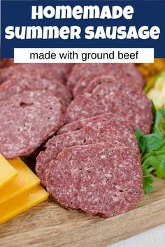 Homemade Summer Sausage made with hamburger is an easy recipe! Bake it in the oven, or smoke it on the smoker. It's great with cheese and crackers. You'll love this beef stick recipe. Salami Recipes, Jerky Recipes, Smoked Meat Recipes, Appetizer Recipes, Beef Recipes, Cooking Recipes, Appetizers, Homemade Summer Sausage, Summer Sausage Recipes
