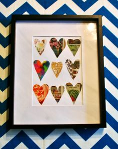 Heart artwork made from old magazines and a frame. So fun, easy, and quirky! // www.rappsodyinrooms.com