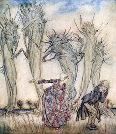 """And that is the story of Mr and Mrs Vinegar. Illustration by Arthur Rackham from 'Mr and Mrs Vinegar' (""""English Fairy Tales"""", 1918)"""