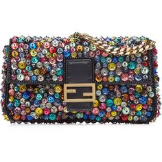 Fendi Embellished Leather Micro Baguette Shoulder Bag (€1.497) ❤ liked on Polyvore featuring bags, handbags, shoulder bags, purses, clutches, multicolored, leather man bags, genuine leather shoulder bag, shoulder strap bags and hand bags