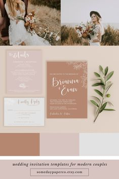 Burnt Orange and Dusty Rose Boho Wedding Invitations - perfect for a fall wedding! Our invitation templates are instant access, so you can edit and download immediately. Print at home or through our online partner!   #bohowedding #weddinginvitations