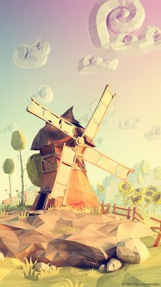moulin low poly nuage