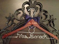 END of YEAR SALE Disney Wedding / Disney Bride Hanger / Minnie Mouse Hanger / Wedding Hanger / Personalized Hanger / Bridal Hanger / Burned on Etsy, $36.00