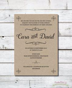 Vintage Style Printable Wedding Invitation - Cara - Rustic Kraft