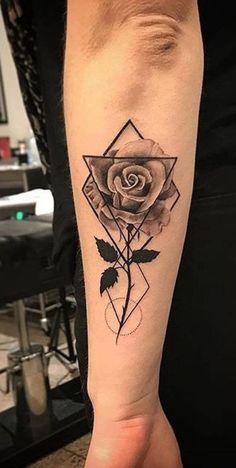 Geometric Rose Tattoo Ideas for Women - Black Floral Flower Forearm Tat - www., tattoos Geometric Rose Tattoo Ideas for Women - Black Floral Flower Forearm Tat - www. Tattoo Girls, Cute Girl Tattoos, Trendy Tattoos, Girl Forearm Tattoos, Rose Tattoo Forearm, Rose Tattoo Man, Mens Tattoos, Tattoo Ink, Woman Tattoos