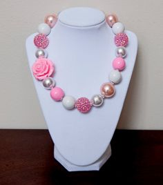 Pink and White Girls Chunky Bubblegum Necklace by NotesbySherryLLC