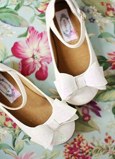 Miriam in White~ Girls Shoe ~ These would be perfect with their Easter dresses! <3