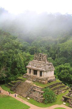 Temple maya du soleil, Palenque. Ces ruines se situent dans la forêt des brouillards du Mexique oriental.