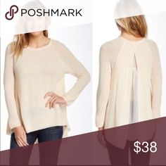 Olivia Sky sweater Very light and perfect for spring,beautiful cream color and nice detail in the back. Size large but fits more like a medium. Brand new,tags attached olivia sky Sweaters Crew & Scoop Necks