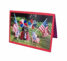 Patriotic Shih Tzu Card July Fourth Dog Card by Lillyzcardz, $4.00