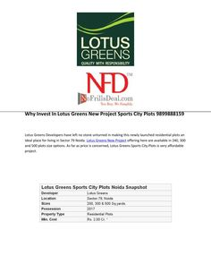 Why invest in lotus greens new project sports city plots 9899888159