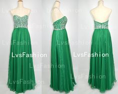 Strapless Sweetheart Beading Chiffon Glass Green Prom Dress Bridesmaid Dress, Party Dress, Evening Dress, Wedding Party Dress