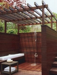 Outside showers don't get much fancier than this!