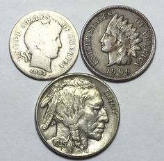 Coin Lot w Barber Dime Indian Head Penny w Full Liberty and A Buffalo Nickel | eBay