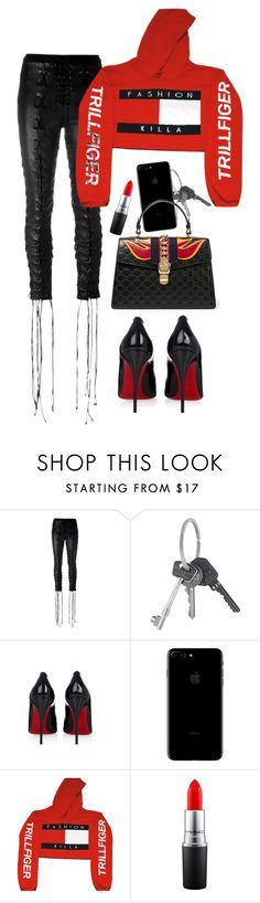 """she's evil."" by nikkischeper ❤ liked on Polyvore featuring Unravel, Givenchy, Christian Louboutin, Monday, MAC Cosmetics and Gucci"