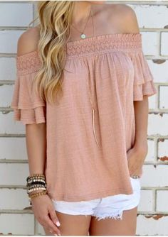 Ruffled Sleeve Slash Neck Fashion Blouse Without Necklace