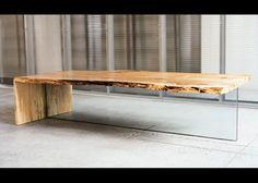 #stół #wzornictwo #design Maple Glass Table  Stół ze szkła i drewna. Niekoniecznie banalny... www.architekturawnetrz.pl/artykuly/wzornictwo/...