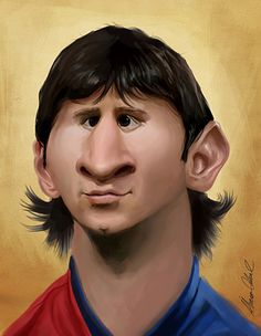 Lionel Messi by Alvaro Cabral Funny Caricatures, Celebrity Caricatures, Famous Cartoons, Funny Cartoons, Cartoon Faces, Funny Faces, Lionel Messi, Black And White Cartoon, Caricature Drawing
