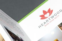 We refreshed Heartwood's logo by creating a new symbol combining the heart and lotus symbol and modernizing the typography. To promote the expanded facility we created a brochure and website design showcasing and detailing all of their wonderful services.