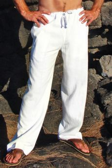 White Linen Riviera Pant for him