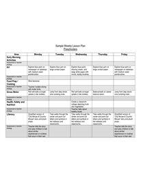 Sample preschool weekly plan