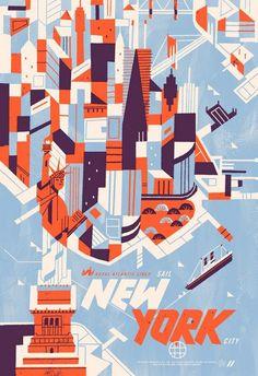 New York, Kevin Dart,   Heel gestileerd maar toch heel duidelijk en prettig om naar te kijken. Weer, minimaal kleurgebruik.