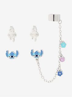 Silver tone post-insertion earring set from Disney's Lilo & Stitch. It includes a pair of Scrump face earrings and a pair of Stitch face earrings, one with a silver tone chain with three dangling flowers leading to a cuff. Disney Earrings, Disney Jewelry, Cute Stitch, Little Stitch, Disney Stitch, Face Earrings, Cuff Earrings, Cuff Bracelets, Ear Jewelry