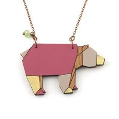 Wooden Origami Bear Necklace