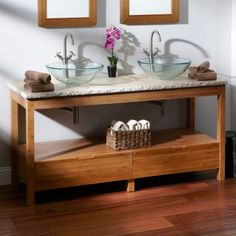 "60"" Aran Bamboo Double Vessel Sink Console Vanity"