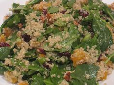 quinuoa w butternut squash, spinach, pecans, dried cranberries