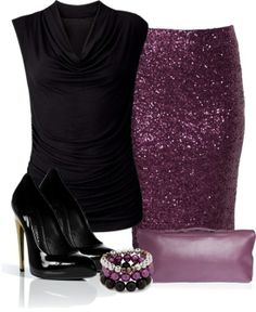 Purple Sequin Skirt - black top It's just perfect for my christmas party this year. LOVE the purple!!!