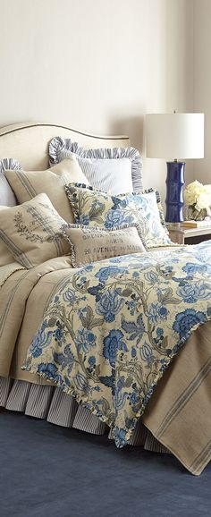 French Blue And Yellow Comforter Sets By Laura Ashley Country Decor Bedroom