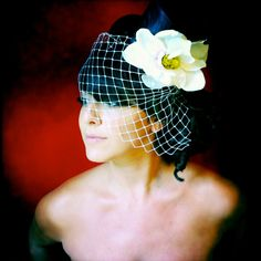 top hat with birdcage veil
